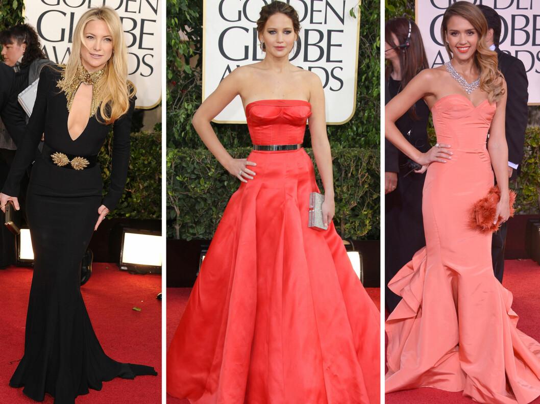 BEST KLEDD: Fra venstre - Kate Hudson, Jennifer Lawrence og Jessica Alba strålte på Golden Globes.  Foto: All Over Press