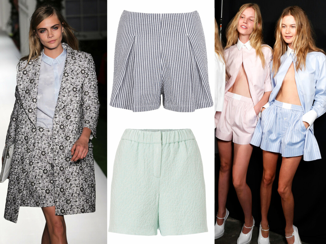LØSE LEDIGE SHORTS: Mulberry går for bukseshortsen til våren, og hos Alexander Wang er det herreinspirerte boksershorts som er hot. I midten i striper (kr 230, Bik Bok) og i mint (kr 1500, Wackerhaus). Foto: All Over Press
