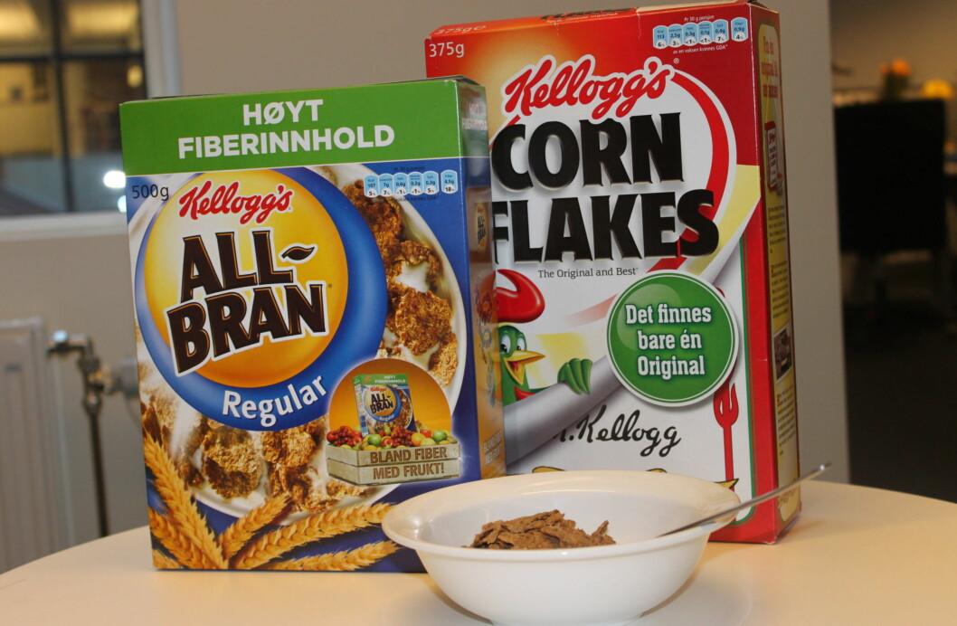 FROKOSTBLANDING? Hvilken velger du? det naturlige valget er kanskje All-Bra, men faktisk inneholder denne varianten dobbelt så mye sukker som Corn Flakes.  Foto: Tone Ruud Engen