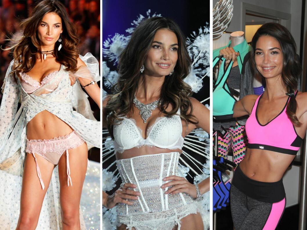 Lily Aldridge viste frem kolleksjonen med treningstøy fra Victoria Secret, og gjorde det klart at selv supermodellene ikke er så brystfagre i Sports-bh. Foto: All Over Press