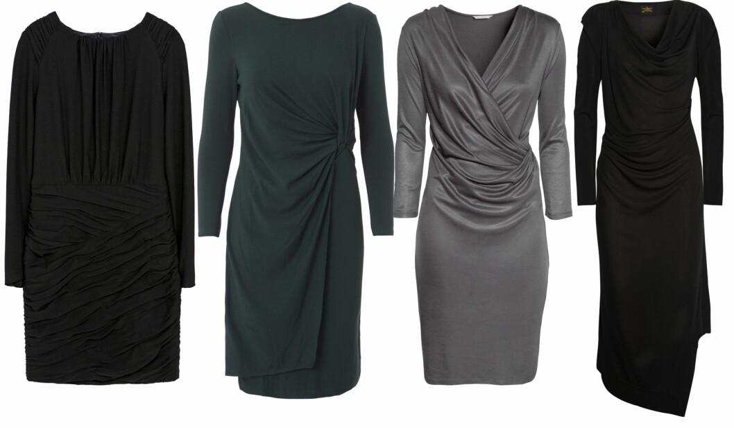 MØRKE FARGER ER ALLTID FLATTERENDE: Sort kjole med lange ermer (kr 560, Zara), i koksgrått (kr 1000, Day Birger et Mikkelsen), med v-hals (kr 200, H&M) og lang (cirka kr 3200, Vivienne Westwood/Net-a-porter.com). Foto: Produsenter