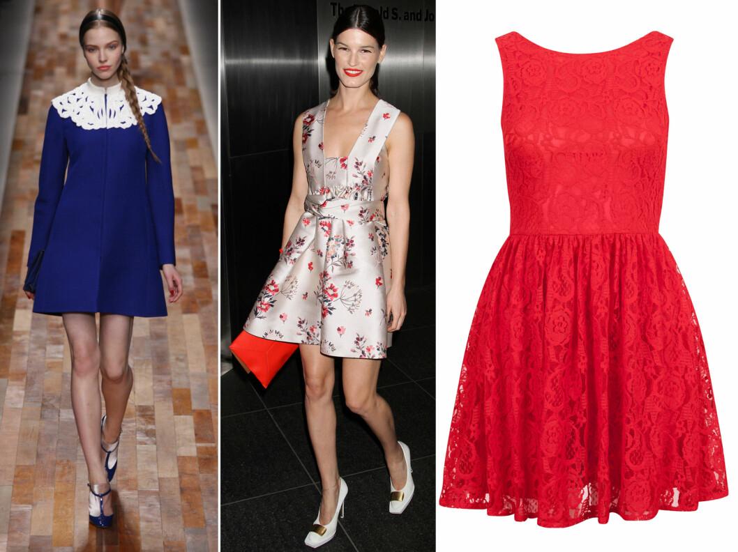 A-FORMET, MED INNSVING OG VIPP: Kjoler med litt volum er ekstra hot i år - her ser vi en av Valentinos kjoler for våren og sommeren, supermodell Hanneli Mustaparta og en blondekjole i rødt (kr 400, Bik Bok). Foto: All Over Press/Produsenter