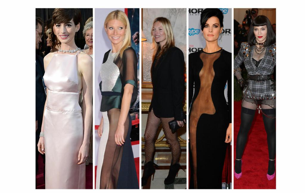 KLESTABBER?: Det er ikke alltid stjernene er like heldige med antrekkene sine. Fra venstre - Anne Hathaway, Gwyneth Paltrow, Kate Moss, Jaimie Alexander og Madonna. Foto: All Over Press