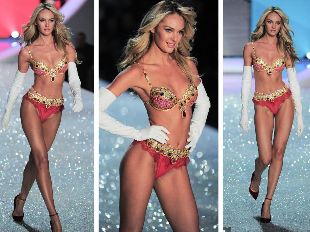 I DEN ÅRLIGE JUVEL-BH-EN: I år var det supermodell Candice Swanepoel (25) som ble plukket ut til å gå i en spesialdesignet bh med rubiner, diamanter og safirer - til den nette sum av cirka 64 millioner kroner. Foto: All Over Press