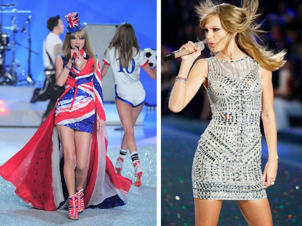 EN HYLLEST TIL STORBRITANNIA: Taylor Swift hadde æren av å opptrå på det spektakulære showet - ikledd Union Jack-kostyme.  Foto: All Over Press