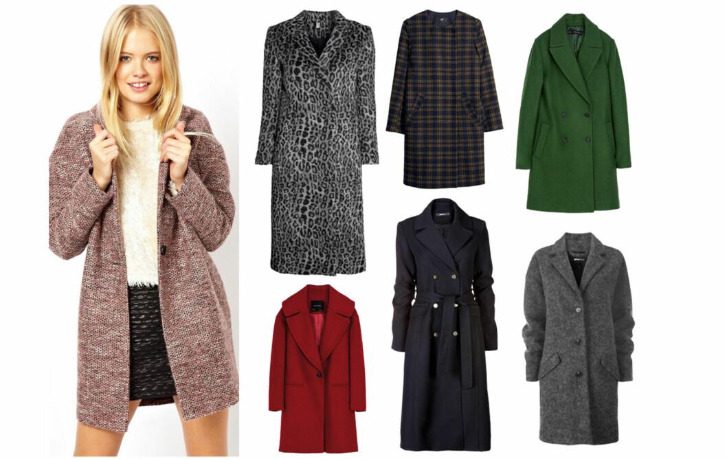 LEKRE KÅPER I BUTIKK: Alle disse kåpene koster under 1000 kroner. Fra venstre - rosa kåpe (kr 870, Asos.com), leopardmønstret (kr 700, Hm.com), rød (kr 560, Zara.no), lang svart (kr 900, Ginatricot.no), grønn (kr 400, Zara.no) og grå (kr 800, Ginatricot.no).  Foto: Produsentene