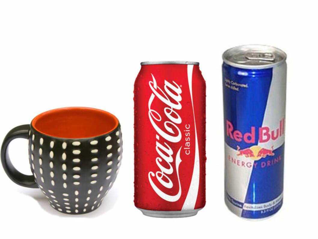VET DU HVOR MYE KOFFEIN DU INNTAR? En ny studie viser at et høyt inntak av koffein kan ødelegge for utviklingen av hjernen hos barn og ungdom. Koffein finner du blant annet i kaffe, visse typer te, noen brusvarianter og energidrikker. Foto: Colourbox