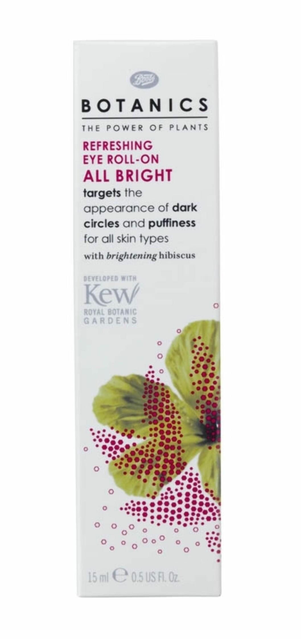 All Bright Eye Roll-On fra Botanics reduserer synligheten av mørke ringer og poser under øynene. (15 ml, kr 89) Foto: Produsenten