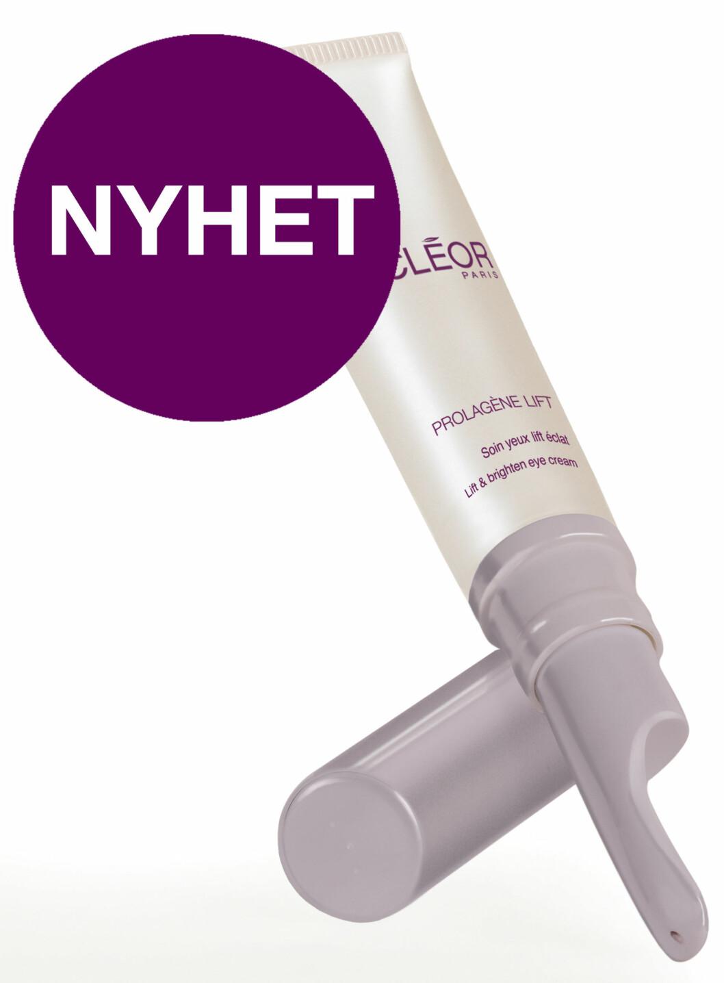 Prolagen Lift Lift & Brighten Eye Cream fra Decléor er en kremgelé som virker øyeblikkelig oppfriskende for øyepartiet. Motvirker fine linjer og mørke ringer, bedrer mikrosirkulasjonen og gir øyepartiet løft og glød. (15 ml, kr 579) Foto: Produsenten