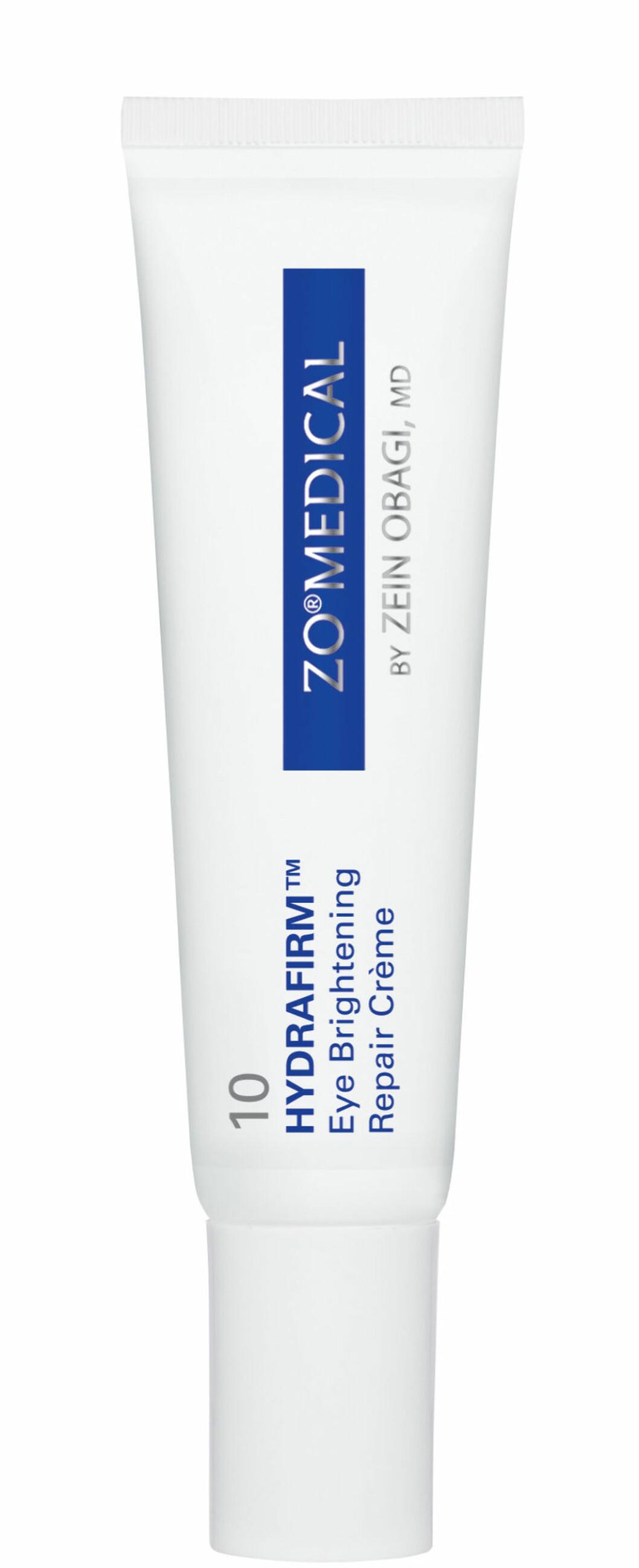 10 Hydrofirm Eye Brightning Repair Cremefra Zo Medical er utviklet for å korigere og forhindre tegn på aldring  rundt øynene. Aktive vitamin A og biometiske proteiner stimulerer den naturlige kollagenproduksjonen for å bidra til å gjenopprette hudens elastisitet. (15g, kr 1290)