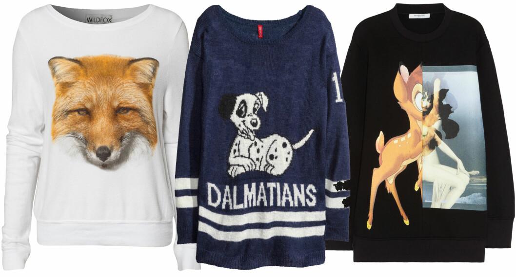 GENSERE MED BARNSLIG TRYKK: Fra venstre med the fox (kr 995, Wildfox/Nelly.com), i blått med søt dalmatinerhund (kr 250, Zara) og Givenchy-genseren som for øyeblikket er utsolgt med lang venteliste (cirka kr 8000, Givenchy/Net-a-Porter.com). Foto: Produsenter