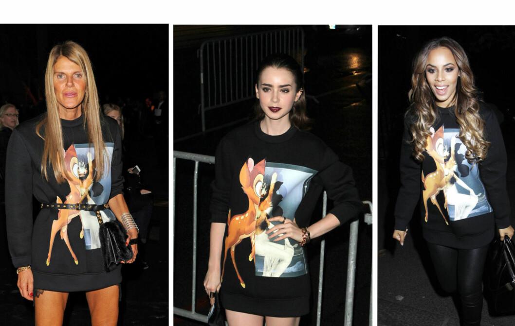 HER ER HØSTENS IT-GENSER: «Bambi»-genseren fra Givenchy har lang venteliste, og elskes av kjendiser som Anna Della Russo, skuespiller Lily Cole og Rochelle Humes. Foto: All Over Press