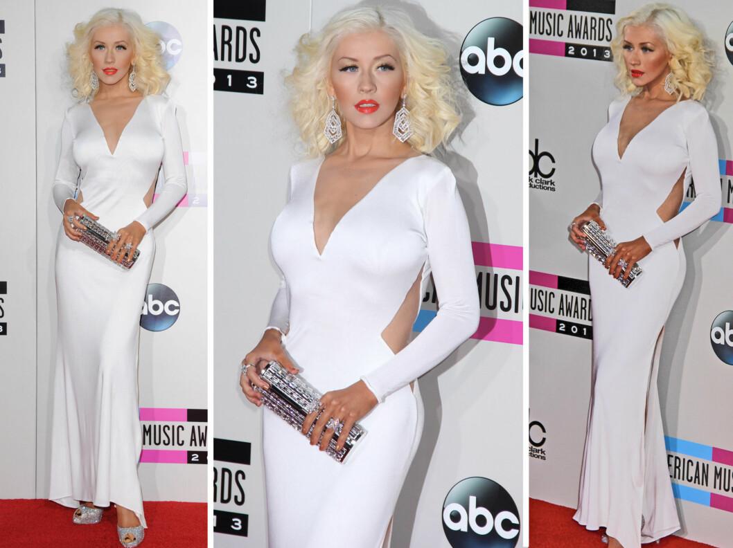 FLOTT: Christina Aguilera så elegant og velkledd ut på søndagens prisutdeling.  Foto: All Over Press