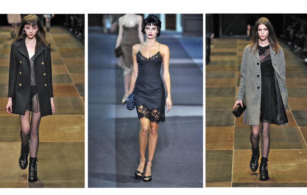 UT AV SENGA - RETT PÅ FEST: Designere som Saint Laurent og Louis Vuitton vil ha oss i florlette og supersexy nattkjoleinspirerte antrekk denne vinteren Foto: All Over Press