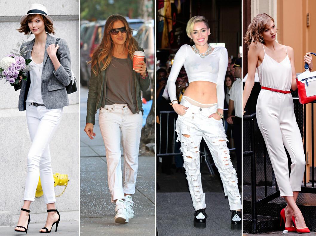 <strong>ULIKE MODELLER:</strong> Karlie Kloss, Sarah Jessica Parker og Miley Cyrus i ganske forskjellige varianter av den hvite buksa. Foto: All Over Press