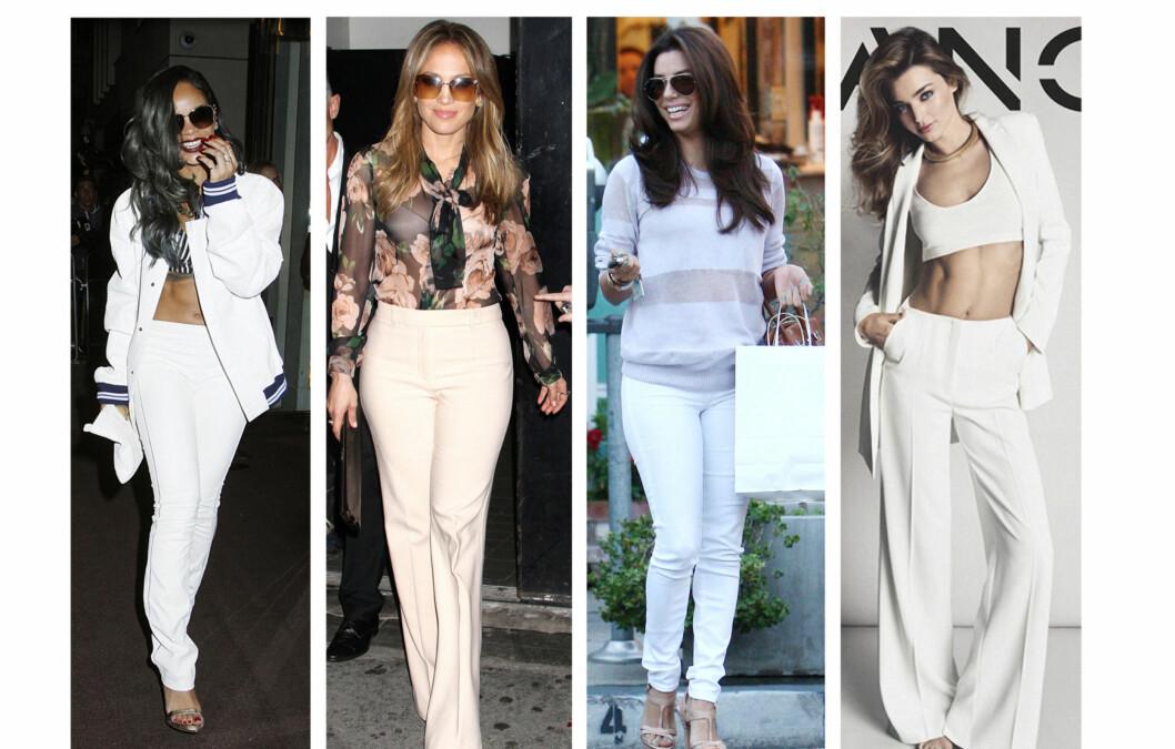 <strong>TRENDY I HVITT:</strong> Hvite bukser er like hot nå på høsten og vinteren, som om sommeren. Tips til hvordan du finner riktig modell til deg, får du i denne saken! Foto: All Over Press