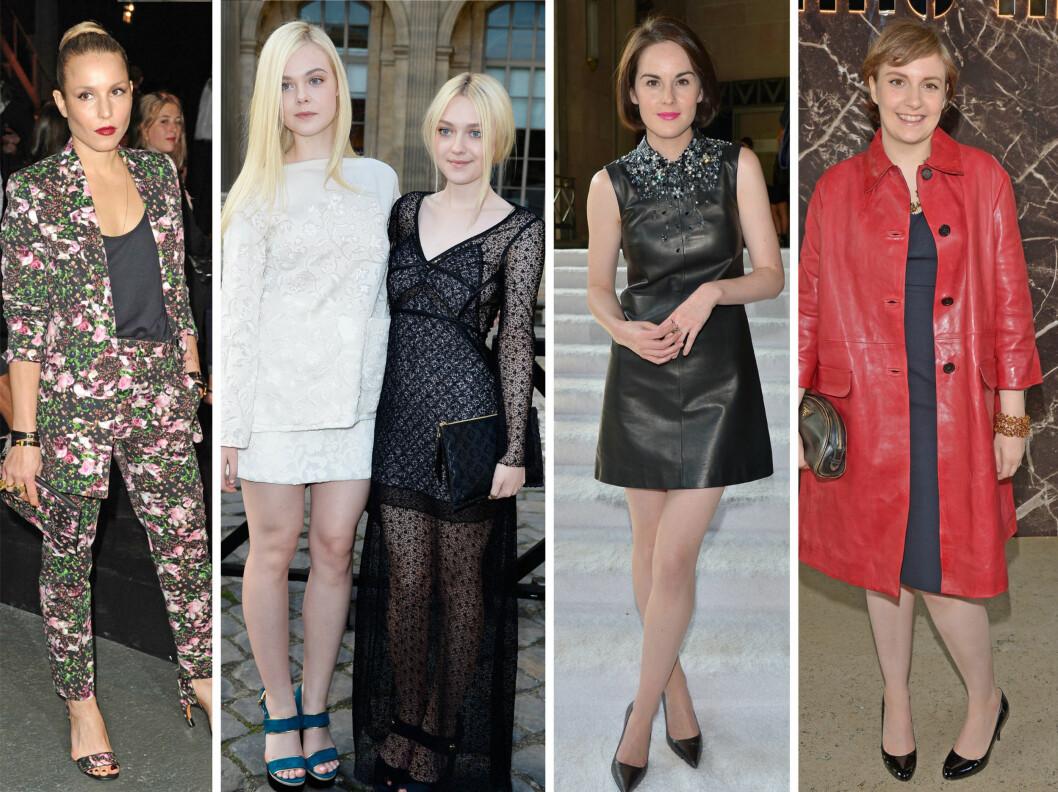 KJENDISER FRONT ROW: Noomi Rapace, Elle og Dakota Fanning, Michelle Dochery og Lena Dunham.  Foto: All Over Press