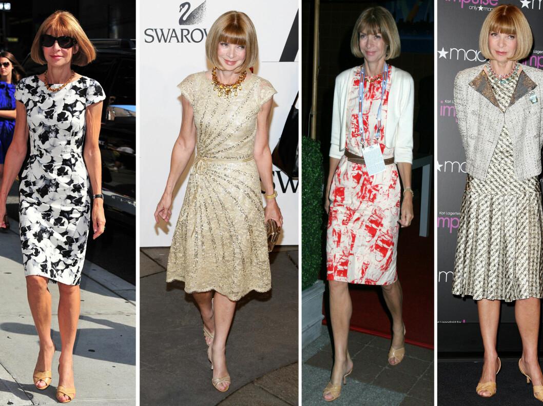 I ETT MED HUDTONEN: Anna Wintour er kjent for sine flotte kjoler og fasjonable antrekk, men når det kommer til sko er hun langt mer konservativ. Foto: All Over Press