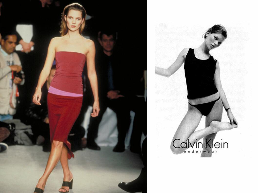 <strong>SLO GJENNOM PÅ 90-TALLET:</strong> Kate Moss slo for alvor gjennom i en undertøysreklame for Calvin Klein (til høyre) i 1993.  Foto: All Over Press/Calvin Klein