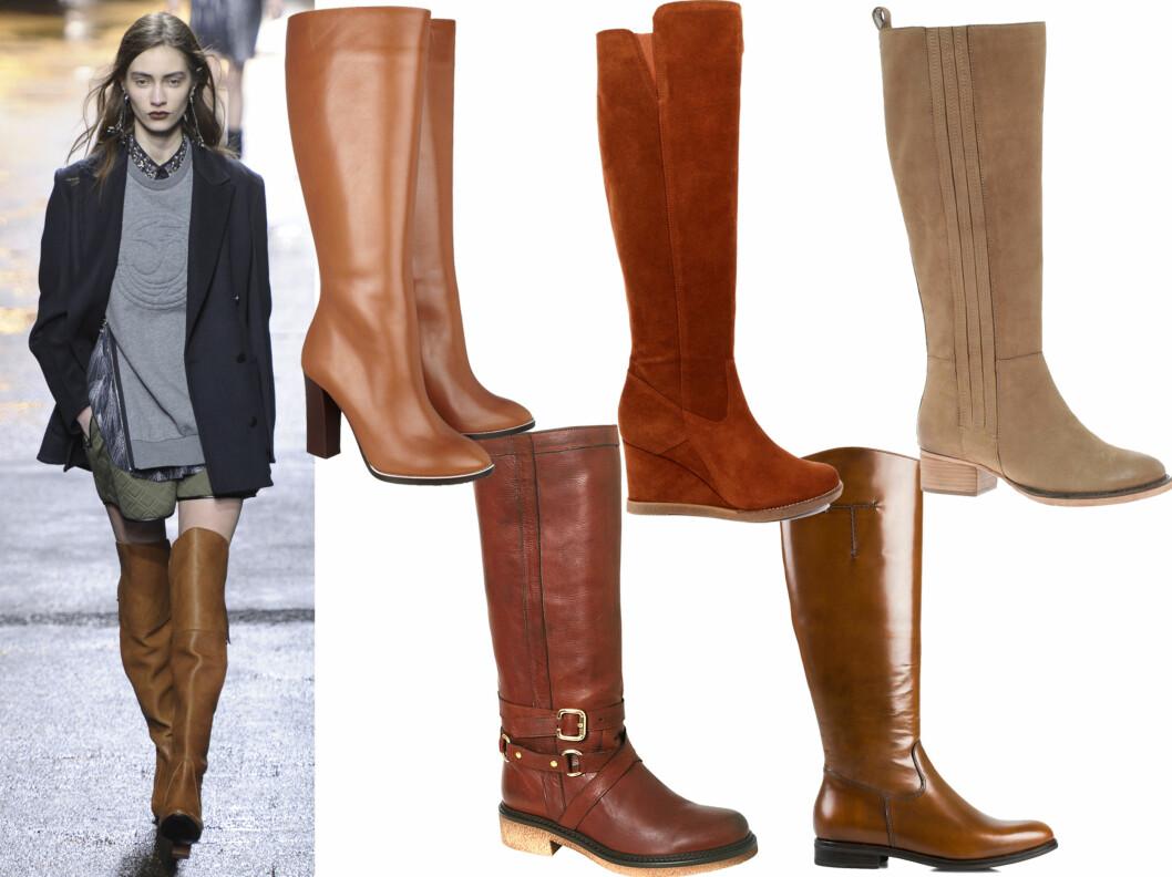 I KAMEL I STEDET FOR SVART: 3.1 Phillip Lim har falt pladask for cognacfargede boots denne sesongen, og styler dem med skjørt, collegegenser og dressjakke. I midten øverst til luksuspris (cirka kr 8000, Chloè/Netaporter.com), i semsket skinn med kilehæl (kr 1900, Unisa), flate i cowboystil (kr 870, Asos.com), med spenner i skinn (kr 2395, Rizzo) og blanke (kr 2295, Tiger of Sweden). Foto: All Over Press/Produsenter