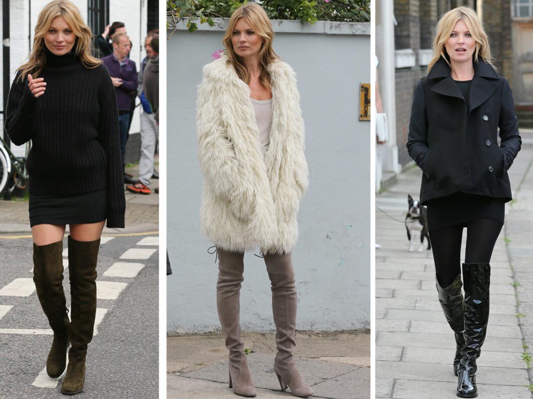 FINT TIL TRANGE MINISKJØRT: Supermodell Kate Moss i tre ulike modeller fra Emilio Pucci.  Foto: All Over Press
