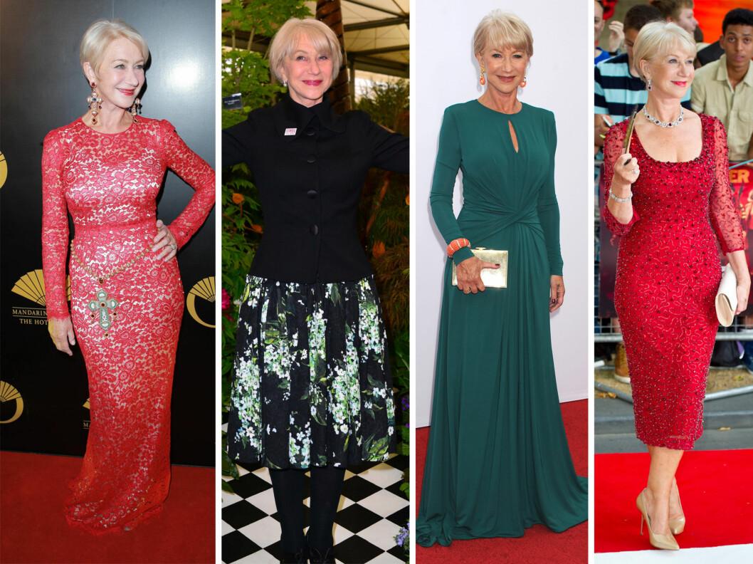 <strong>STILIG DAME:</strong> Helen Mirren holder seg svært godt for alderen og har en klassisk, elegant stil. Her er hun i samme kjole som Ora, og en rekke andre antrekk.  Foto: All Over Press
