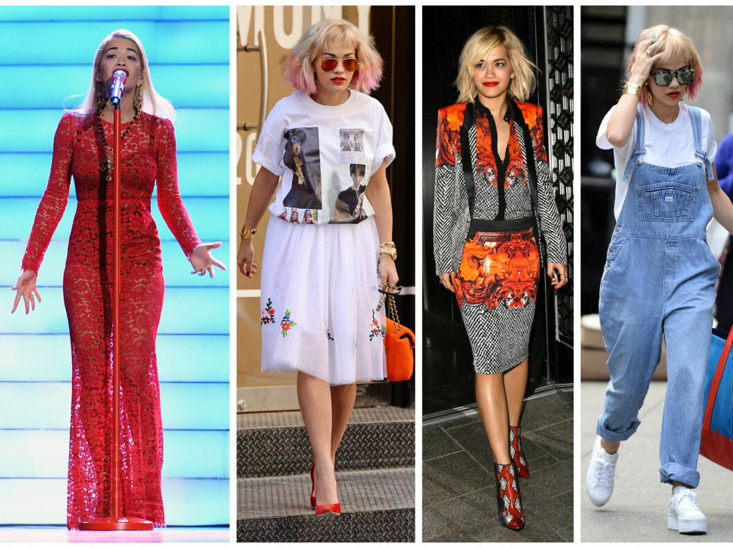 <strong>UNG OG TRENDY:</strong> Popstjernen Rita Ora har en ung, kul og trendy stil. Her er hun til venstre i samme kjole som Morren, og flere litt mer hverdagslige antrekk.  Foto: All Over Press