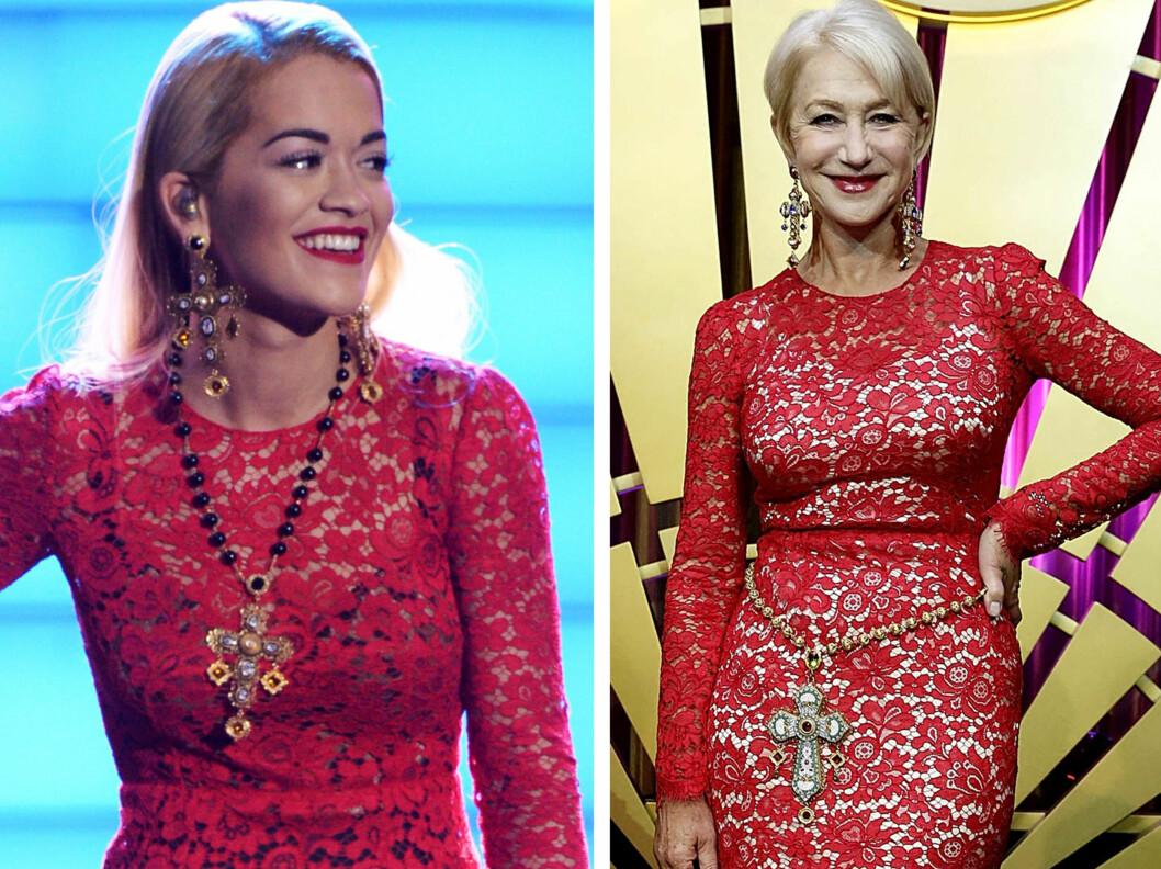 <strong>STYLET SMYKKENE ULIKT:</strong> Rita Ora brukte det lange kjedet rundt halsen, mens Helen Mirren gjorde det litt alternativt, og brukte det som belte.  Foto: All Over Press