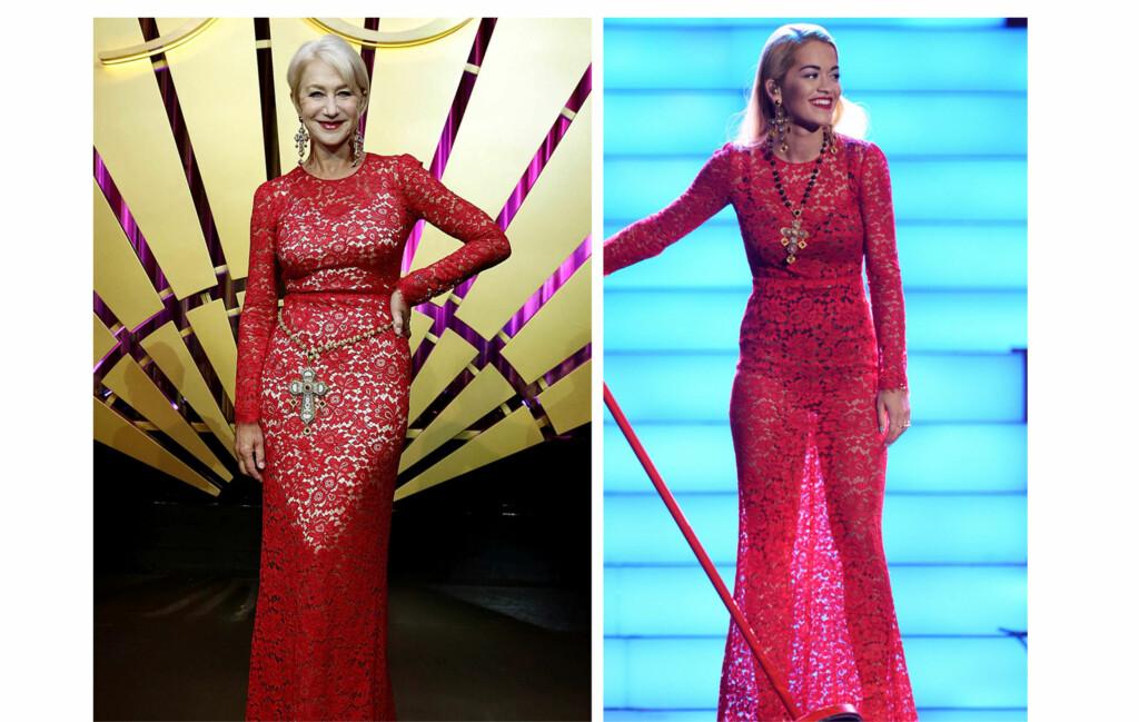 I SAMME KJOLE: Skuespillerinne Helen Mirren (68) dukket opp i samme kjole som popstjernen Rita Ora (22). Foto: All Over Press