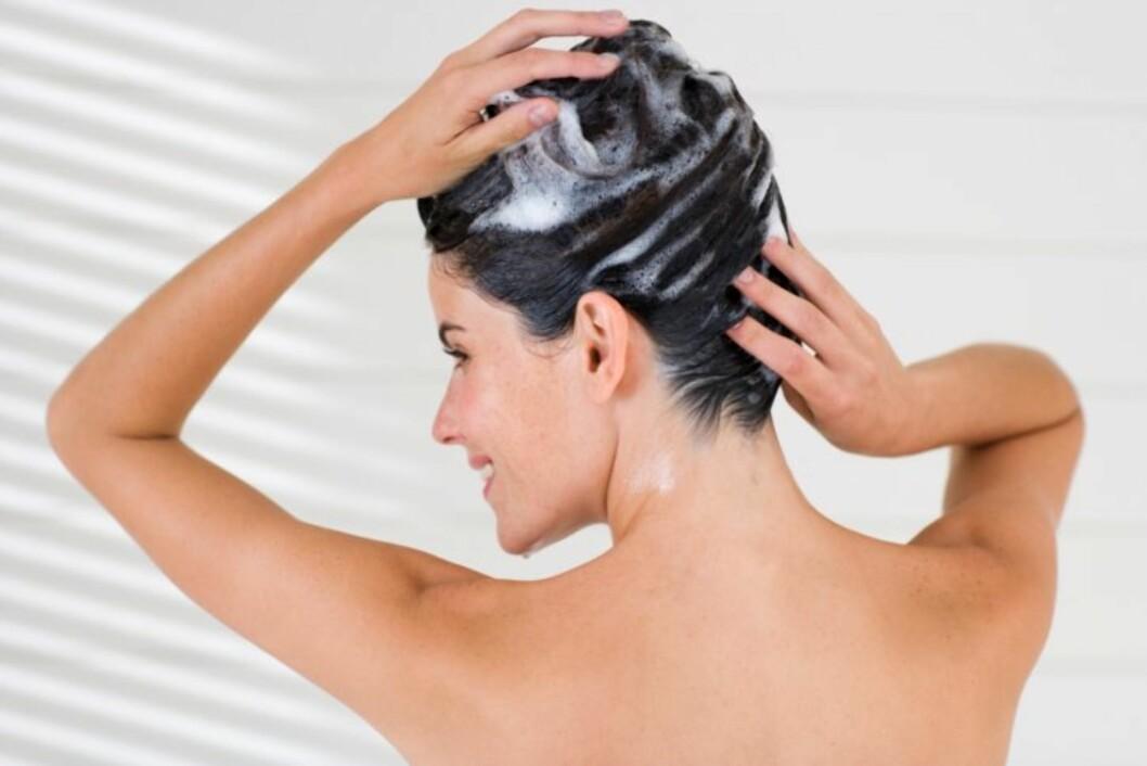 <strong>MILDT OG PLEIENDE:</strong> Velg en ekstra mild sjampo og pleiende balsam, gjerne for farget hår. Da får du fargen til å vare lenger. Foto: Getty Images/Pixland