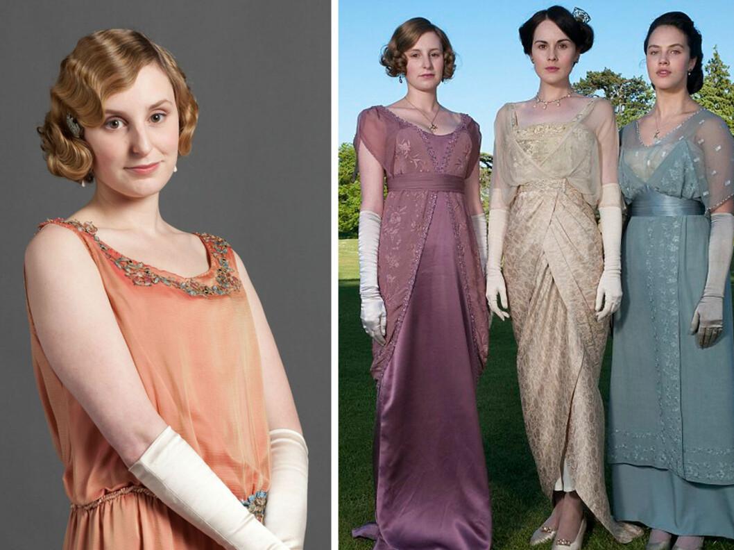 """<strong>I DOWNTON ABBEY:</strong> Her ser du Laura i rollen som Lady Edith Crawley i """"Downton Abbey"""". Til høyre ser du også Michelle Dockery, som spiller Lady Mary, og Jessica Brown Findlay - som spilte Lady Sybil.  Foto: ITV/Downton Abbey"""