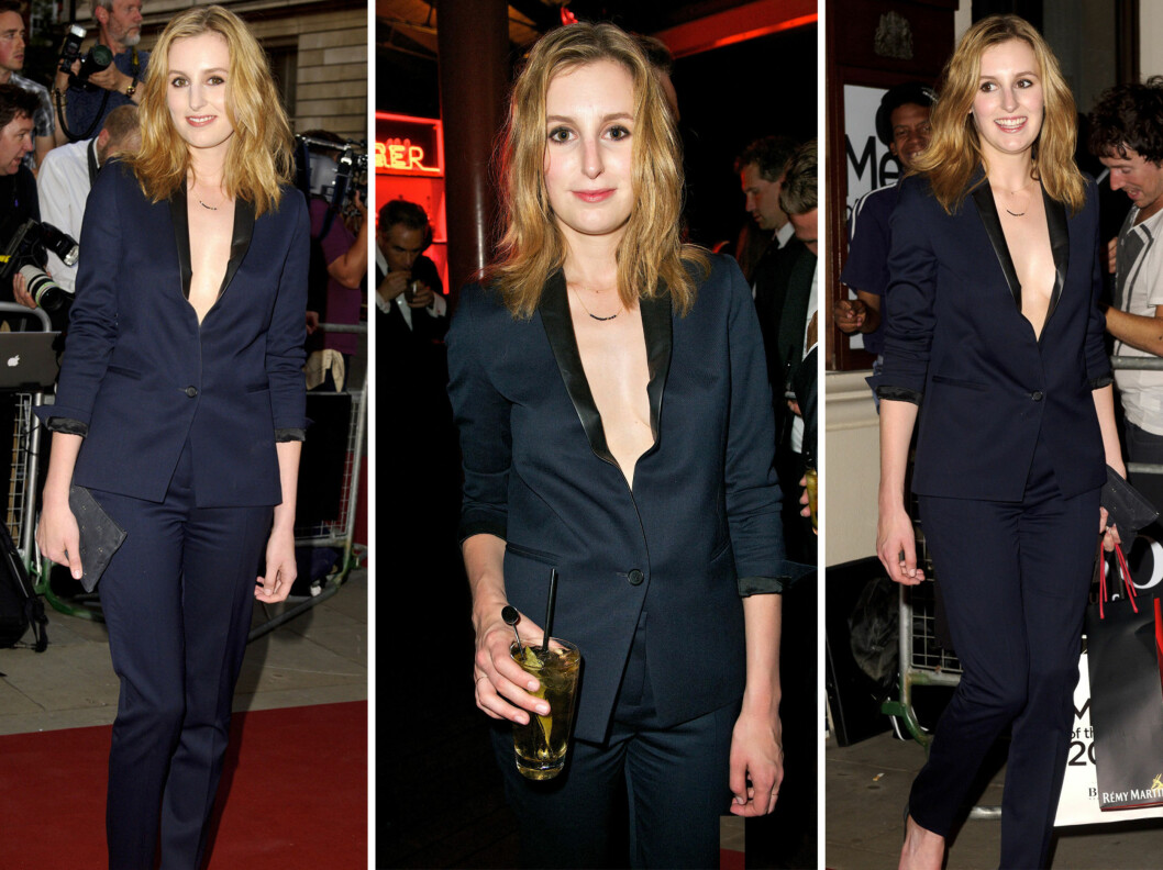 """<strong>LEKKER:</strong> Laura i sin lekre, mørkeblå dress. Svært så annerledes fra vi er vant til å se henne, som Lady Edith i """"Downton Abbey"""".  Foto: All Over Press"""