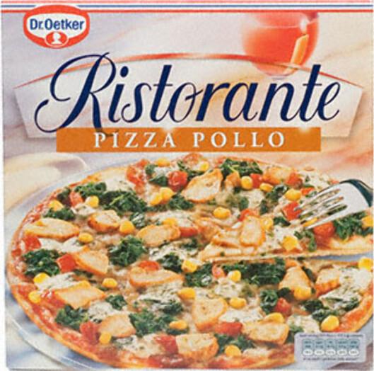 KCAL: Dr. Oetker Ristorante Pollo hele 756 kalorier, 32 gram fett og 85 gram karbohydrater.