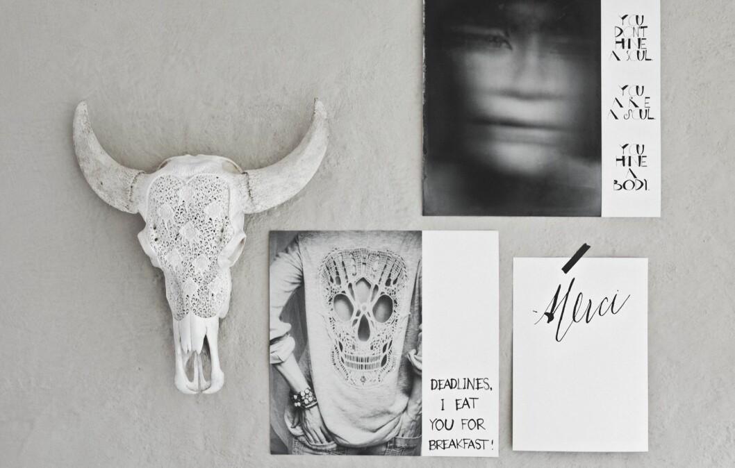 <strong>SÅ KULT - OG SELVDESIGNET:</strong> Print ut bilder, sett av hvite felt - og skriv tekst på. Det er enkelt og veldig dekorativt. Foto: Hannah Lemholt