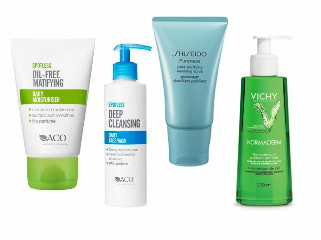 FRA VENSTRE: Aco Spotless Daily Moisturiser (kr 63, Apotek1), Aco Spotless Daily Face Wash (kr 66, Apotek1), Shiseido poreskrubb (kr 150, Shiseido), Vichy Normaderm rensegele (kr 122, Apotek1). Foto: Produsentene