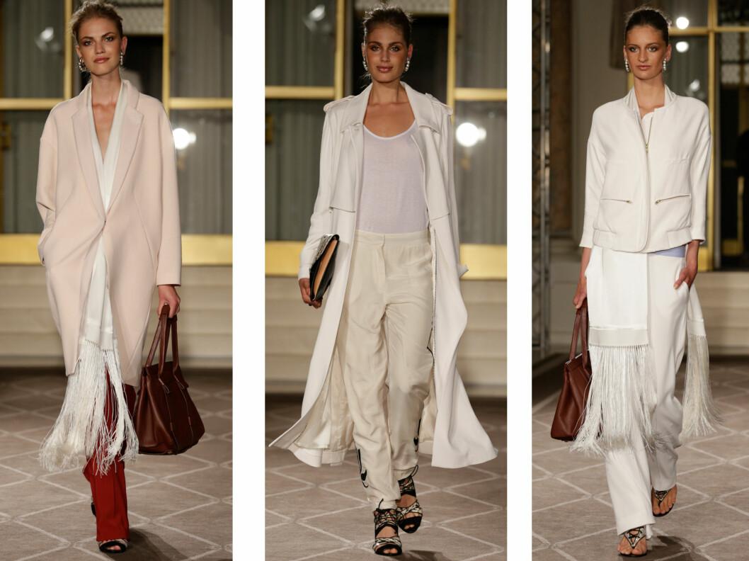 INGEN SOMMER UTEN HVITT: Hos By Malene Birger er det hvitt og krem som gjelder, og vi elsker det lange frynsete silkeskjerfet. Foto: Copehagen Fashion Week