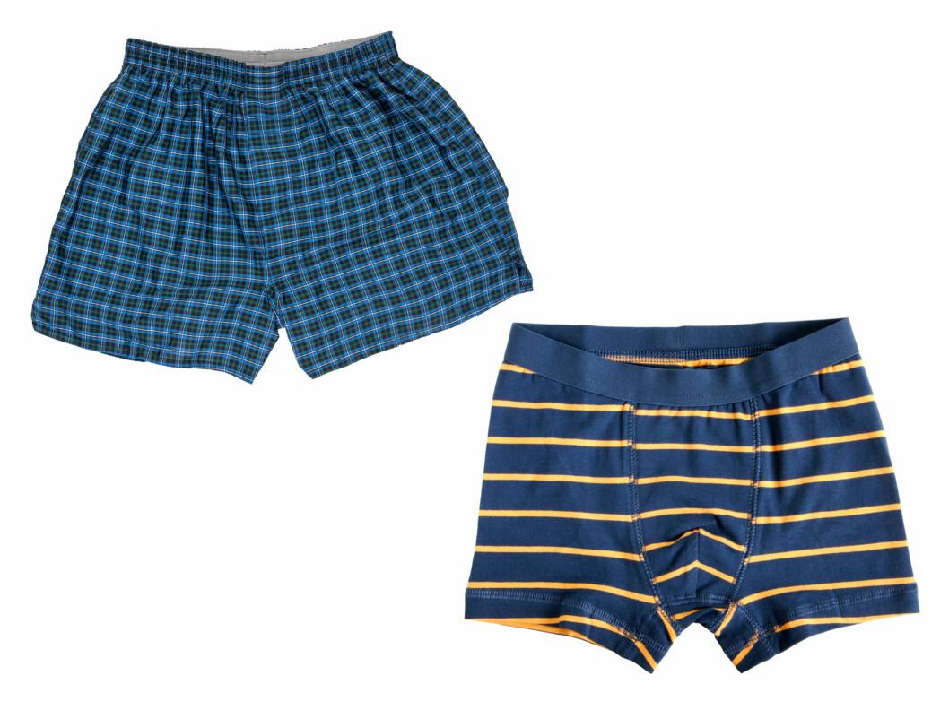 VET DU FORSKJELL?: Boxer briefs er den tettsittende modellen, som gir mye støtte (til høyre), mens boxershorts er de løsere øverst til venstre.  Foto: Fotolia