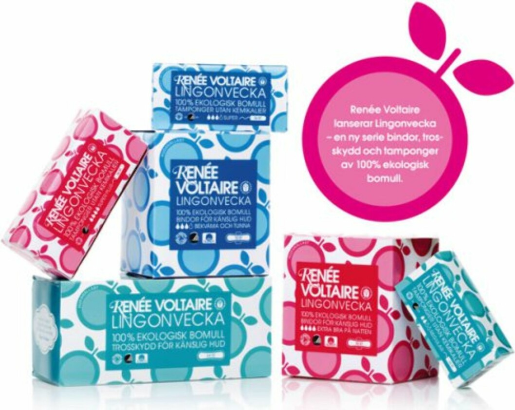 ØKOLOGISKE TAMPONGER: Renée Voltaire er blant dem som produserer økologiske tamponger. Disse selges blant annet på Gimle Parfymeri.  Foto: Produsenten