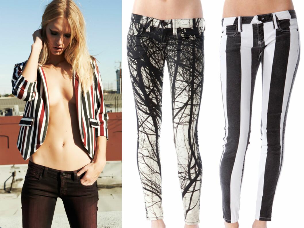 KAN VIRKE SLANKENDE: Hvis du velger riktig modell og riktig mønster vil buksene kunne gi en slankende effekt.  Foto: Produsenten