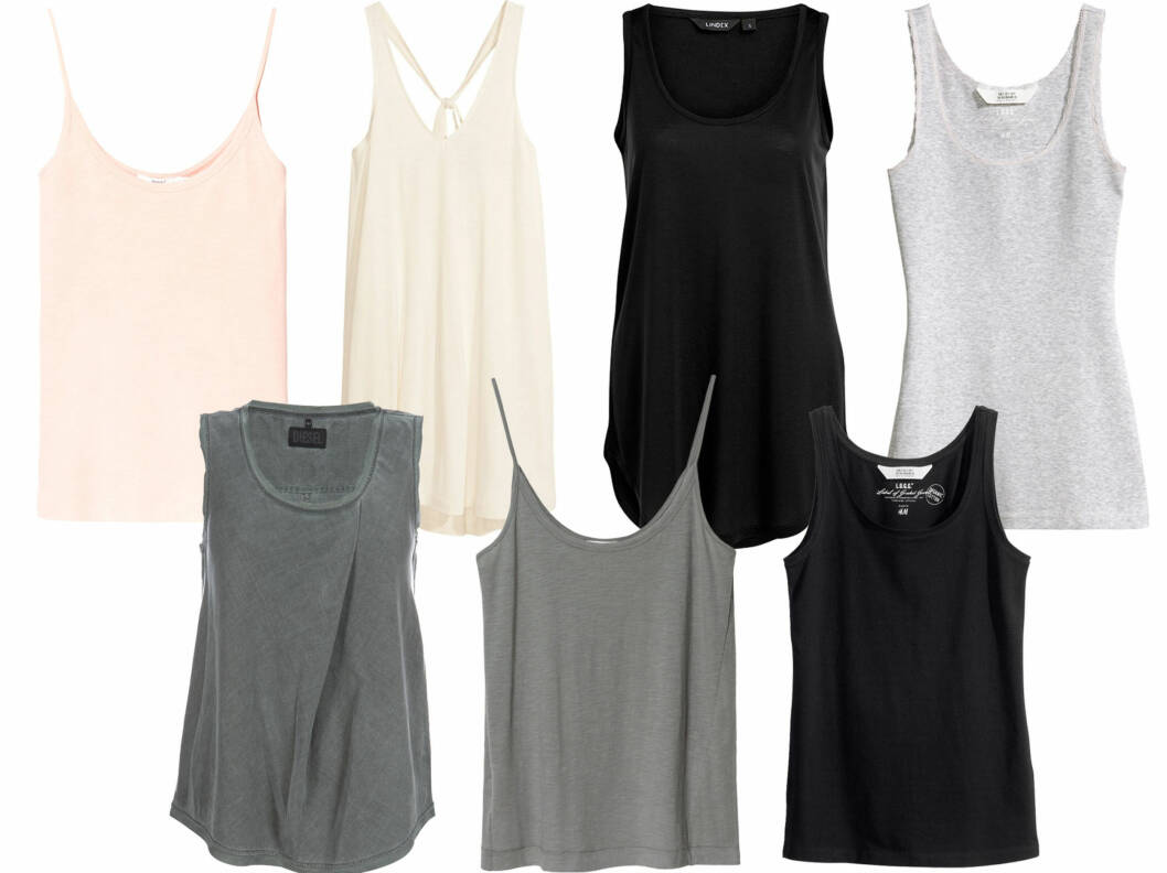 SINGLETER TIL GOD PRIS: Øverst til venstre i krem med tynne stropper (kr 60, Zara), med stropper som krysser bak (kr 80, H&M), med rund hals (kr 100, Lindex), i lysegrått (kr 80, H&M), i sprengt jerseystoff (kr 100, Diesel), koksgrå (kr 70, Zara) og enkel svart (kr 60, H&M). Foto: Produsenter