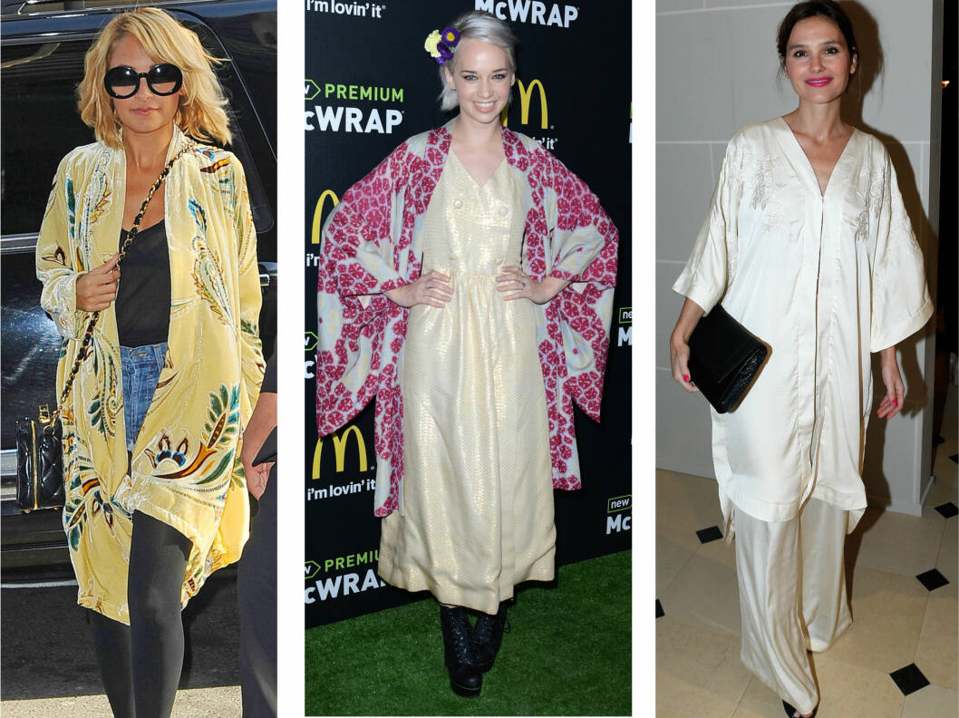 TRENDY PLAGG: Slik styler Nicole Richie, Caitlin Moe og Virginie Ledoyen det vakre plagget. Foto: All Over Press
