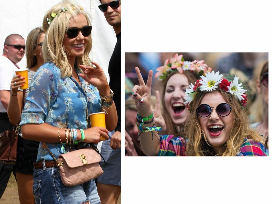 BLI GLAD MED BLOMSTERKRANS PÅ HODET: Katherine Jenkins og svært mange andre festivalgjengere, gikk for lysegule blomster i håret på årets Glastonbury... Foto: All Over Press