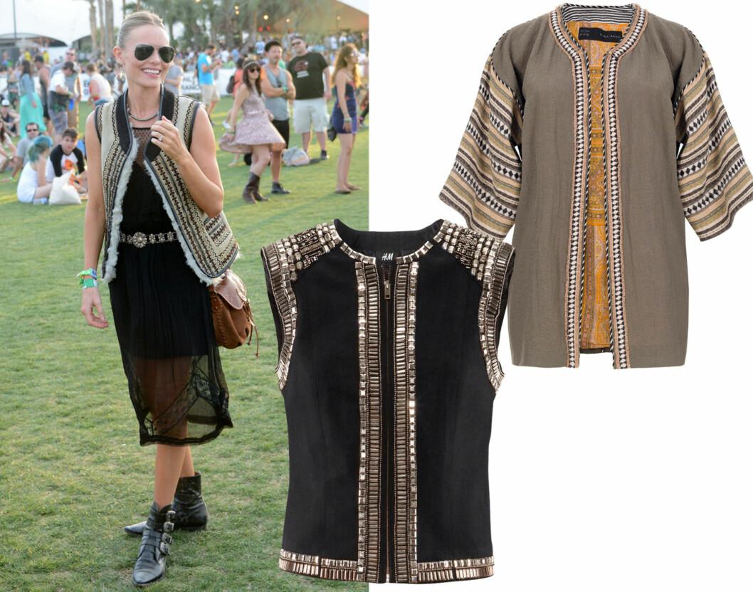 SOMMERENS IT-PLAGG: Skuespiller Kate Bosworth var en av de best kledde under årets Coachella-festival i California. I midten i svart med nagler (kr 500, H&M) og i etnisk stil (kr 1000, Zara).  Foto: All Over Press/Produsenter