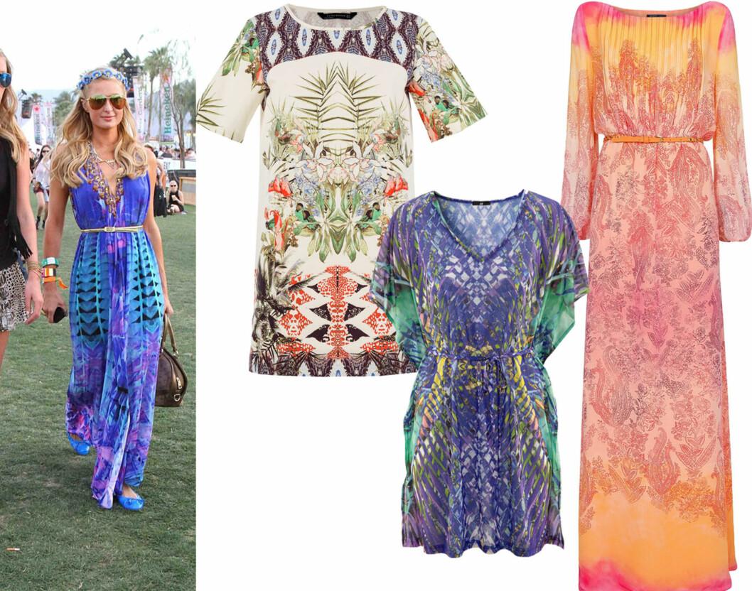 MØNSTREDE KJOLER: Paris Hilton er hippiechic (vellykket egentlig?) på Coachella. I midten med etnisk mønster (kr 700, Zara), lilla med flagrende ermer (kr 100, H&M) og lang og dus (kr 1300, Mango). Foto: All Over Press/Produsenter
