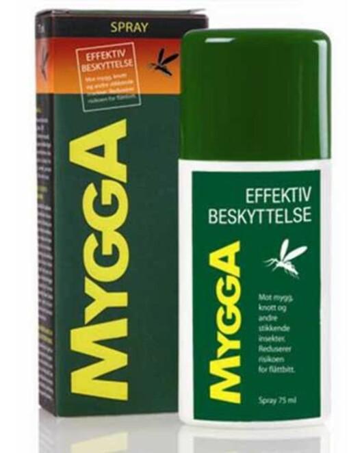 DEET-SPRAY: Insektspray med DEET holder flåtten unna. Denne fra MyggA koster ca. 140 kr og får bl.a. på apoteket. Foto: MyggA