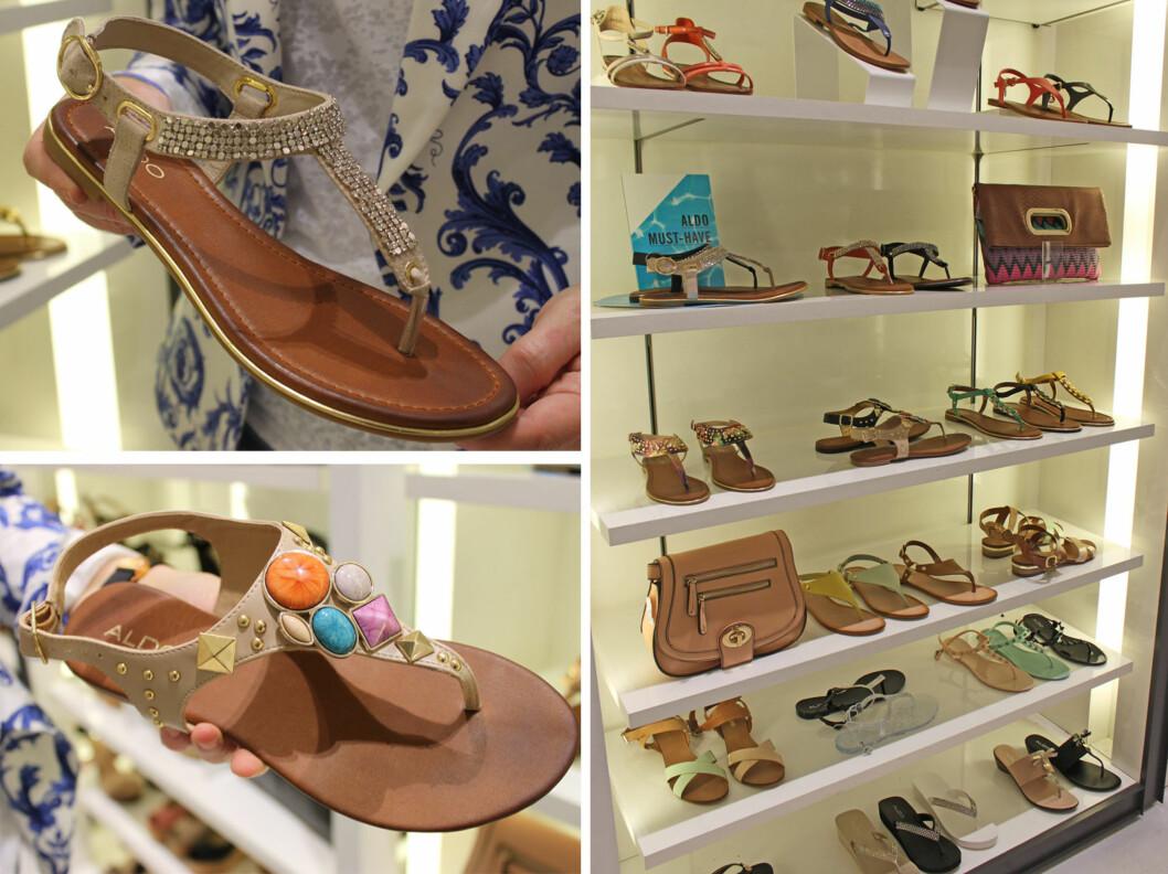 LEKKERT MED NUDE: Nude sandaler - som disse to modellene med litt bling, er kledelig selv om du ikke er så brun på beina enda.  Foto: A. C. Blystad
