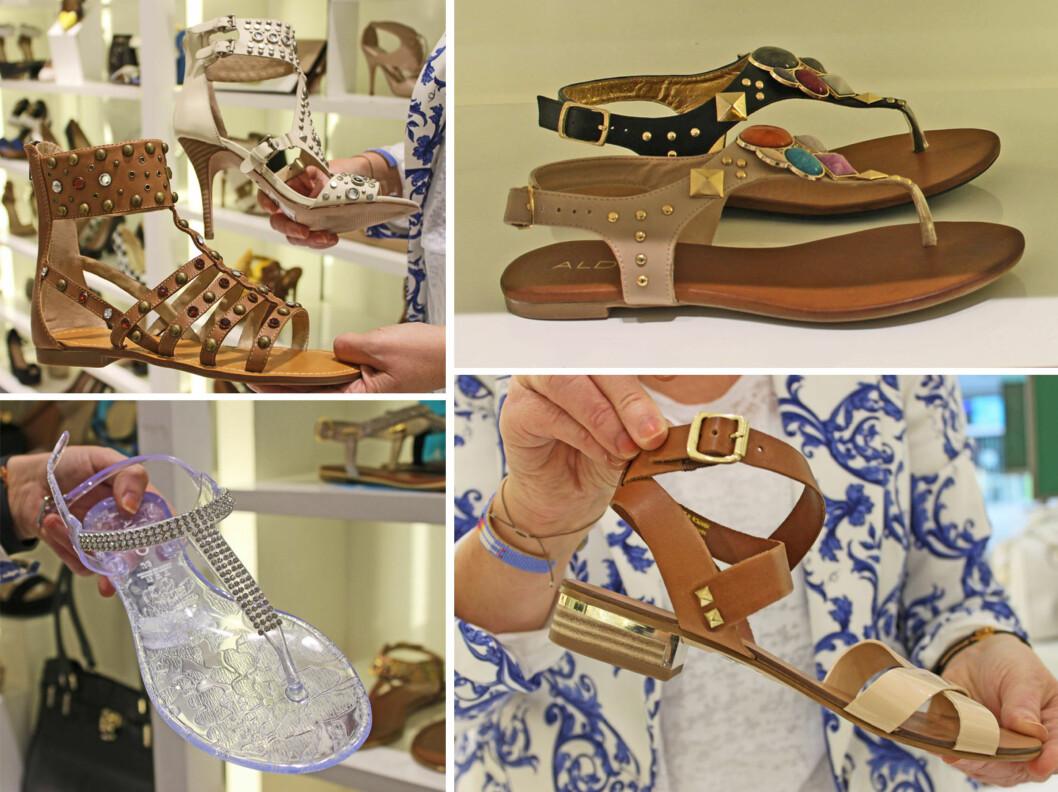 BLING: Sandalene, selv de i plast, skal ha litt stæsj og kule detaljer på seg i år. Sjekk ut de Isabel Marant-inspirerte sandalene øverst til venstre! Foto: A. C. Blystad