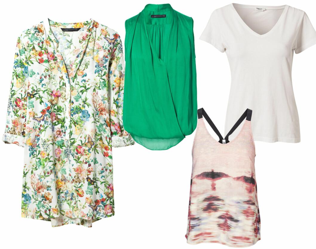 V-HALS ER PERFEKT FOR DEG MED STOR BYSTE: Mønstret tunika (kr 400) og i grønt (kr 400, begge fra Zara), hvit enkel t-skjorte (kr 500, Filippa K) og  med lyst mønster (kr 500, Vero Moda).