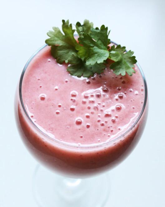 Melon i smoothie er litt mer mettende, men du, så deilig! Foto: veggishfairylicious.blogspot.no