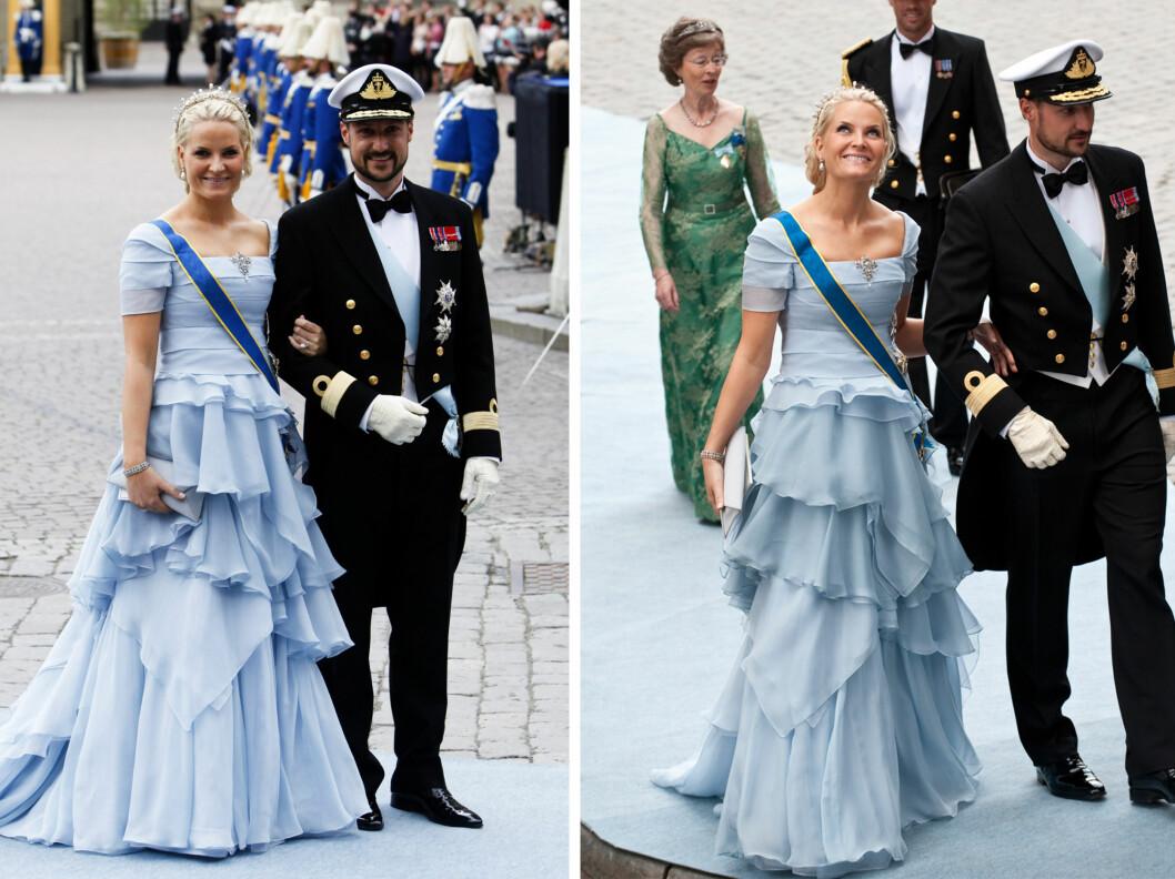 <strong>IKKE LIKE HELDIG:</strong> Denne pudderblå kjolen, som kronprinsessen bar i bryllupet til kronprinsesse Victoria, falt ikke i like god smak blant motekritikerne.  Foto: All Over Press